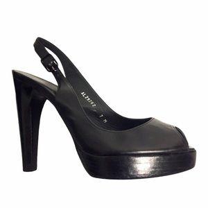 STUART WEITZMAN Platform Peep Toe Leather Heels 7